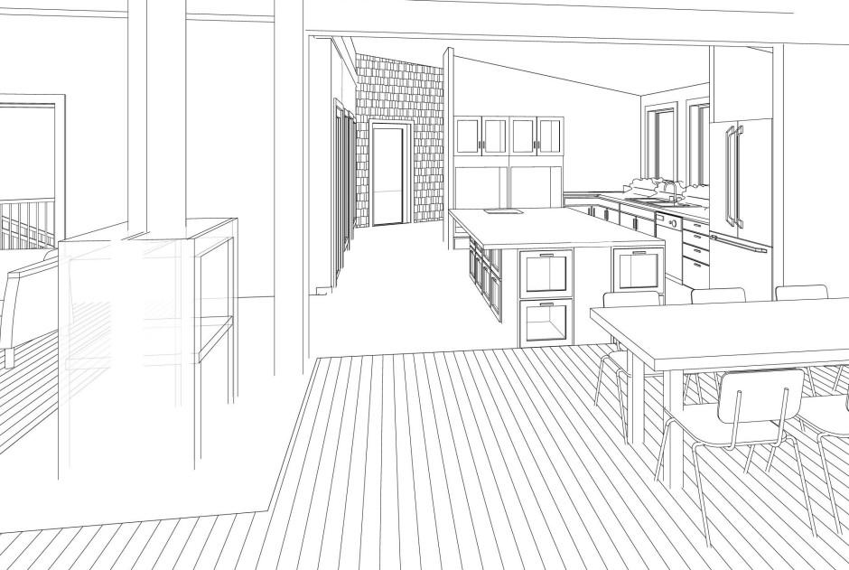 Corridor view towards Barn—Revit