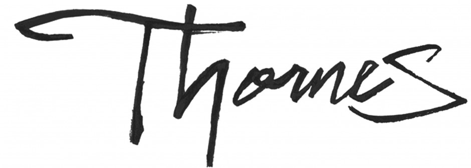 After showing the client several fonts to use for the sign of the market, I proposed a more personal approach. Using sumi ink and a bamboo pencil, 'Thornes' was written out until the right look was achieved. The logo will be used as the sign for the market, and for graphic wayfinding.