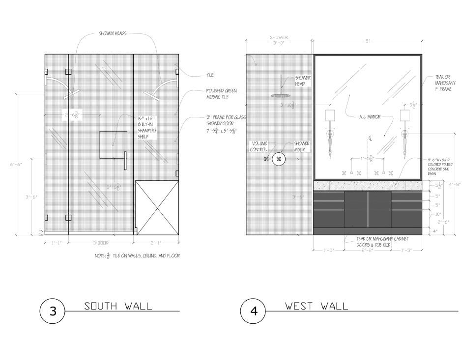 Master Bath, Proposed Design—Elevations