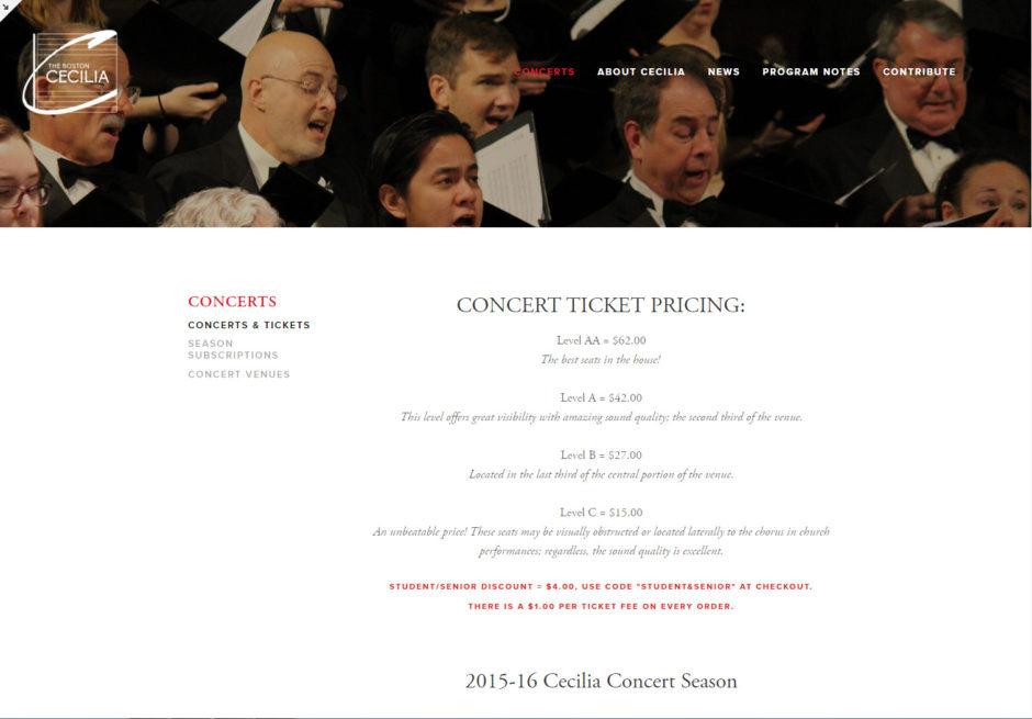 New Cecilia website - Tickets Page