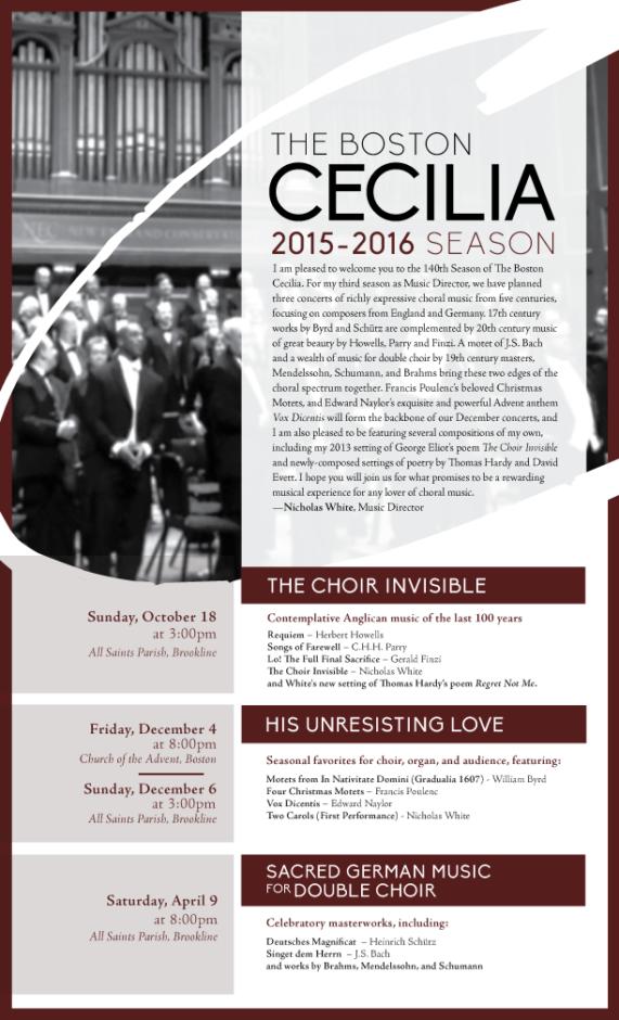Inside of Cecilia 2015-2016 Season Brochure
